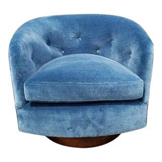 Mid-Century Modern Blue Velvet Tilt Swivel Lounge Chair For Sale