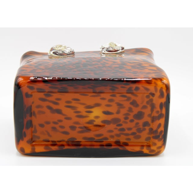 Mid Century Modern Tortoise Shell Glass Purse Cachepot / Vase For Sale In Tulsa - Image 6 of 9