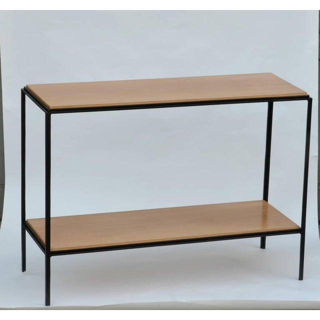 Brown Wrought Iron and Oak 'Rectiligne' End Tables by Design Frères - a Pair For Sale - Image 8 of 9