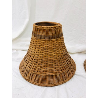 Pair Vintage Woven Wicker lamp shades Preview