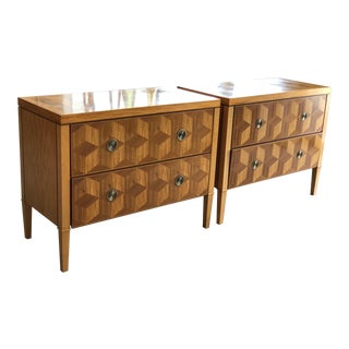 Baker Geometric Design Parquetry Chests - A Pair For Sale