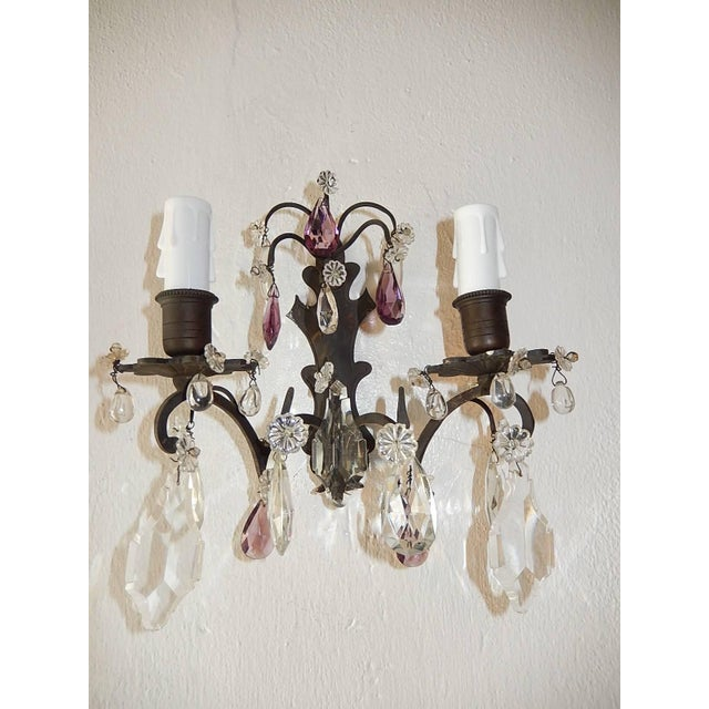 French Burnished Brass Amethyst and Clear Crystal Prisms Sconces For Sale - Image 4 of 11