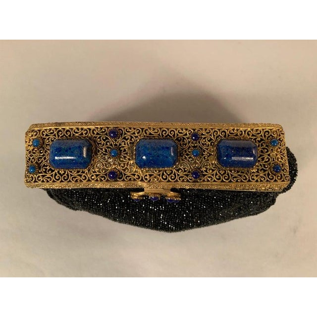1930s French Caviar Beaded Black Evening Bag With Lapis Lazuli and Gold Toned Wirework Frame For Sale - Image 5 of 10