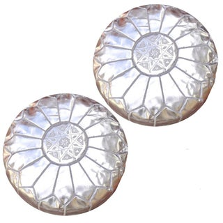 Silver Moroccan Unstuffed Ottomans - Pair For Sale