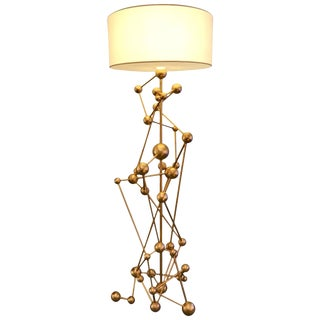 Floor Lamp Atomica Iron Gold Leaf by Antonio Caggianelli, Italy, 2018 For Sale