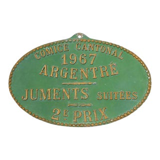 1967 French Agricultural Plaque