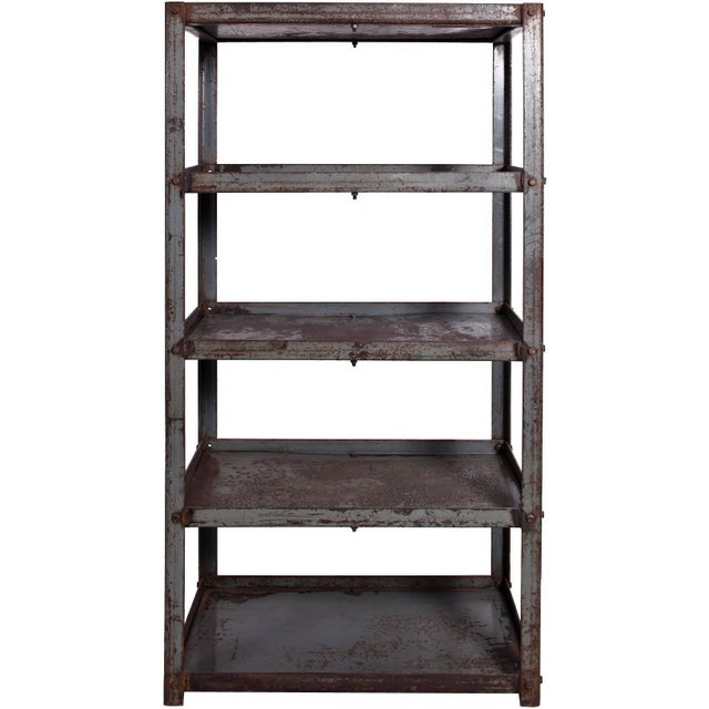 1920s Early 20th Century Metal Shelves Salvaged From Textile Factory in England For Sale - Image 5 of 5