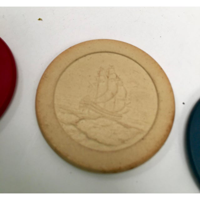 1930s Vintage Clay Poker Chips in Wood Carrying Case For Sale - Image 4 of 11
