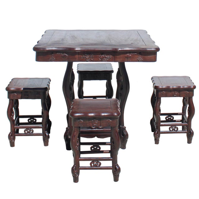 Chinese Dark Brown Huali Rosewood Square Table Chair 5 Pieces Set For Sale In San Francisco - Image 6 of 8