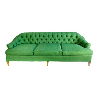 1920s Art Deco Louis XVI Style Diamond Tufted Skeleton-Back Green Broad Weave Sofa For Sale