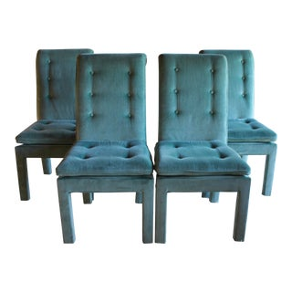 1970s Mid Century Modern Tufted Teal Green Velvet Parsons Dining Chairs Milo Baughman Style - Set of 4 For Sale