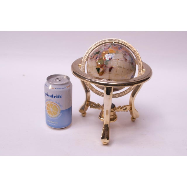 Contemporary Petite Desk Globe in Brass, Gemstones, and Mother of Pearl For Sale In New York - Image 6 of 13