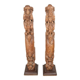 Architectural Carved Wood Temple Pair of Truss From India For Sale