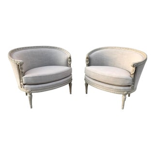 19th Century French Louis XVI-Style Bergeres - a Pair For Sale