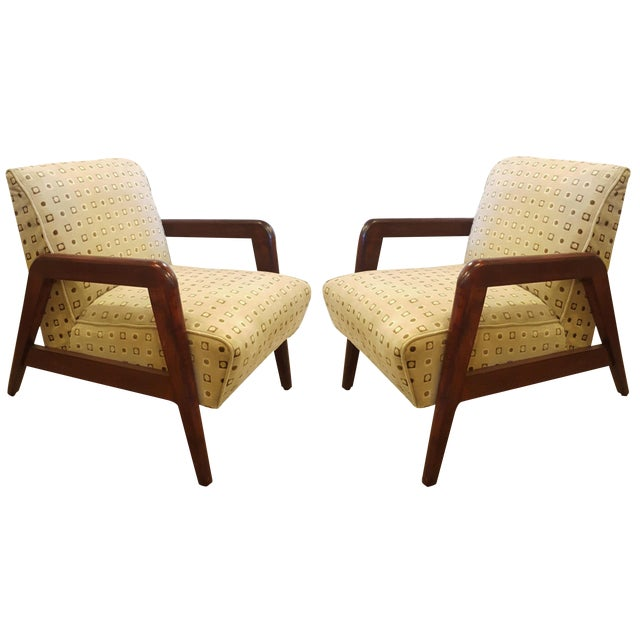 Yellow Mid-Century Modern Armchairs - A Pair For Sale - Image 8 of 8