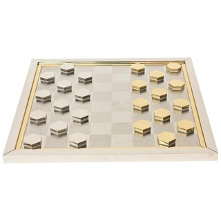 Italian Signed Vintage Romeo Rega Brass and Chrome Plated Checkers Game For Sale