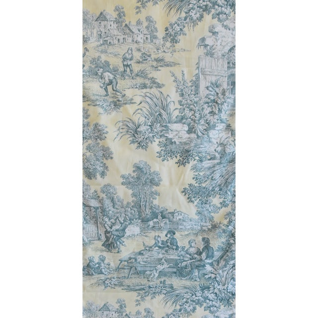"Early 21st Century Custom French Farmhouse Country Toile Table Runner 110"" Long For Sale - Image 5 of 9"