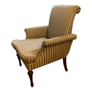 Taupe Satin Stripe Upholstered Chair With Down Cushion For Sale