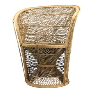 Vintage Rattan Boho Barrel Chair