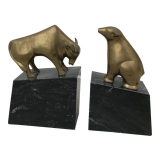 Mid-Century Brass and Marble Bull and Bear Bookends - A Pair