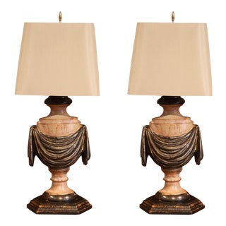 Pair of Italian Carved Lamp Bases With Polychrome Antique Painted Finish For Sale