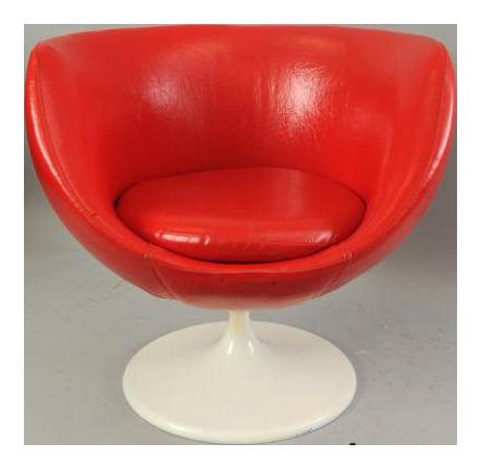 Vintage Saarinen Mid Century Modern Red Vinyl Tulip Base Pod Club Chair