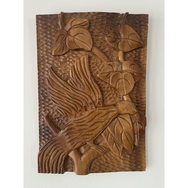 Mid Century Phillipine Hand Carved Wood Wall Plaque For Sale - Image 9 of 9