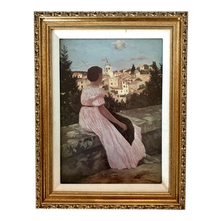 Vintage Framed Art Print of 'The Pink Dress' by Frederic Bazille For Sale