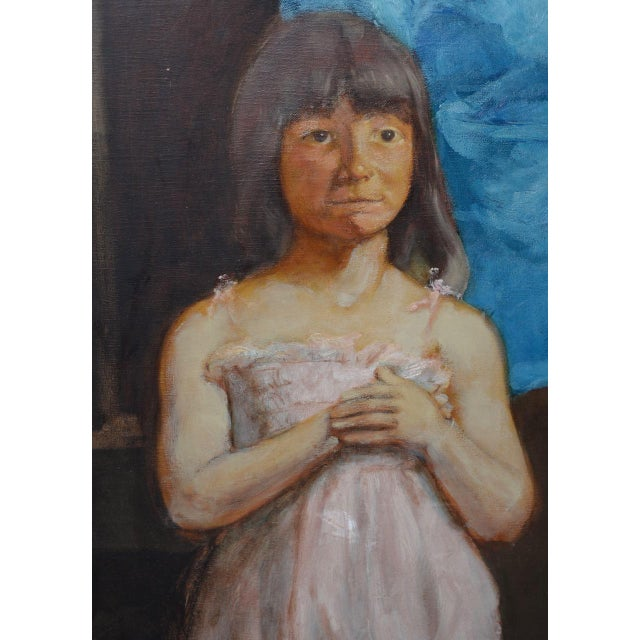 Vintage Oil Portrait of a Young Mother and Daughter C.1979 For Sale In San Francisco - Image 6 of 9