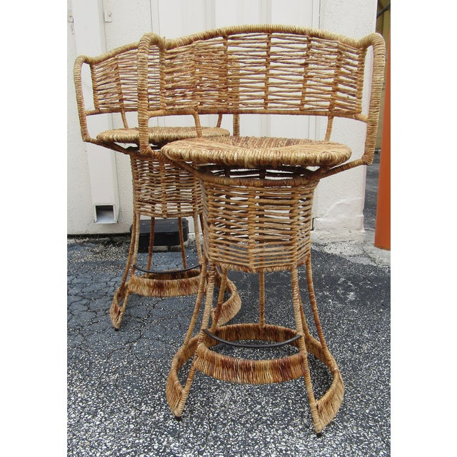 1970s Vintage Woven Rattan Bar Stools / Counter Stools - a Pair For Sale - Image 5 of 12