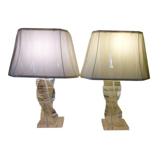 1970's Karl Springer Style Lucite Staircase Lucite Lamps - a Pair For Sale