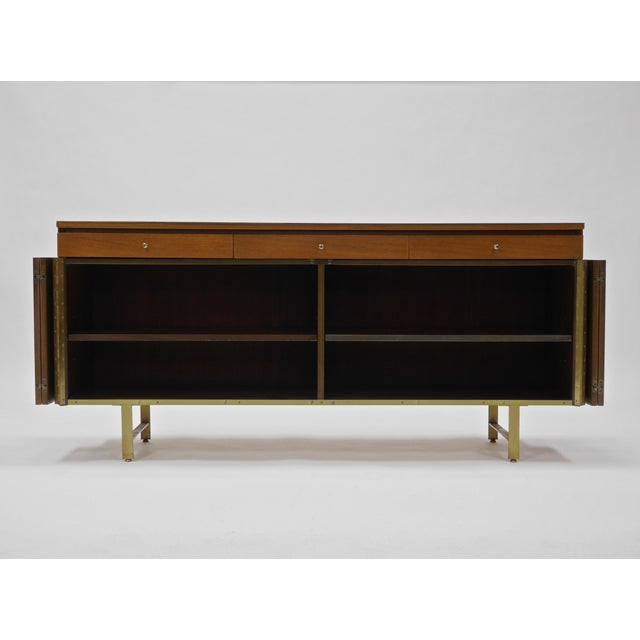1960s Credenza in Orange leather and Mahogany by Paul McCobb for Calvin For Sale - Image 5 of 11