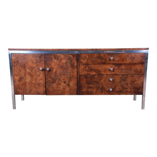 Tomlinson Mid-Century Modern Burl Wood and Chrome Sideboard Credenza, 1970s For Sale