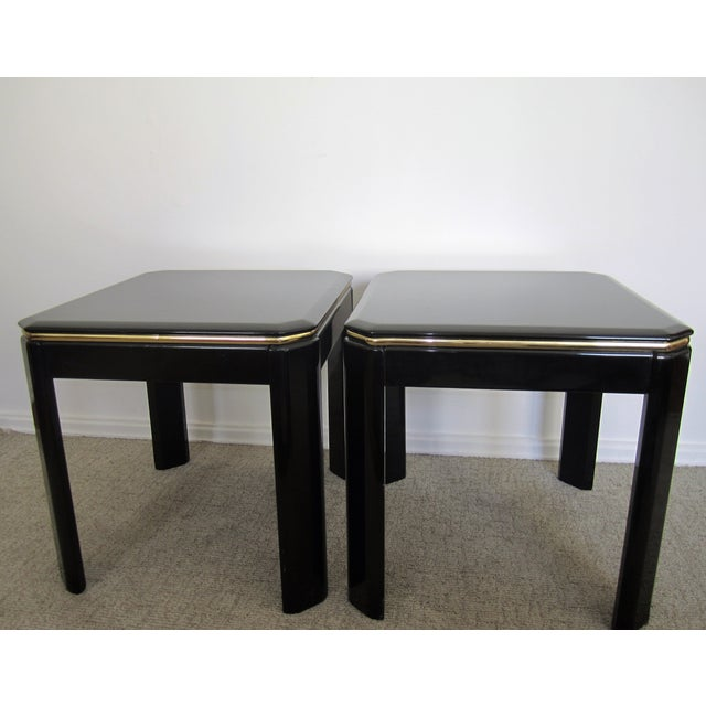 Vintage Modern Black Lacquer & Brass Tables - Pair - Image 4 of 10