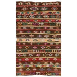 1950s Vintage Turkish Balikesir Jajim Kilim Rug - 6′10″ × 11′ For Sale