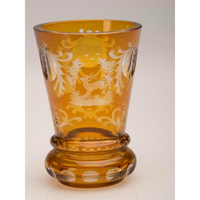 Vintage English Bohemian Cut Glass Amber Vase circa 1950 - Image 4 of 7