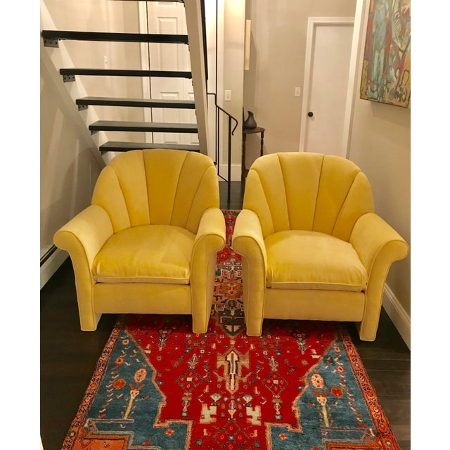 1980s American Classical Bright Yellow Velvet Vanguard Channel Back Chairs - a Pair For Sale - Image 12 of 12