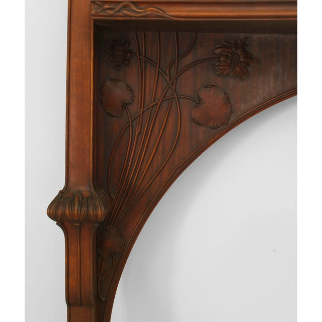 French Art Nouveau Mahogany Fireplace Mantel For Sale - Image 4 of 5