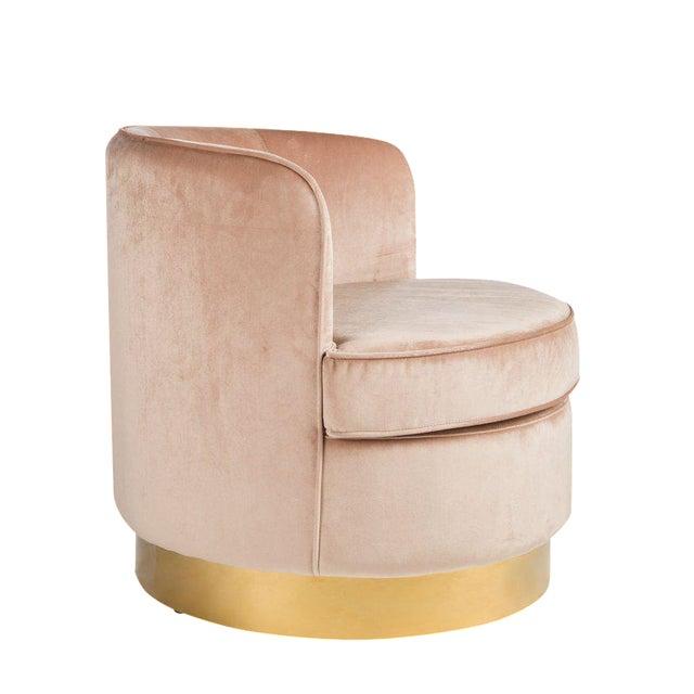 Hollywood Regency Style Brass Base Velvet Tube Chair For Sale - Image 4 of 5