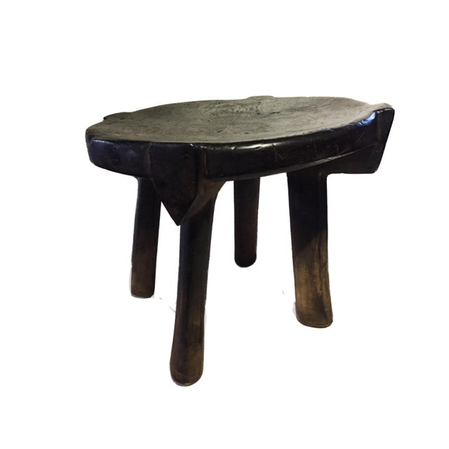 """African Old Carved Wood Milk Stool Hehe Gogo People Tanzania 10.25"""" H For Sale - Image 10 of 12"""