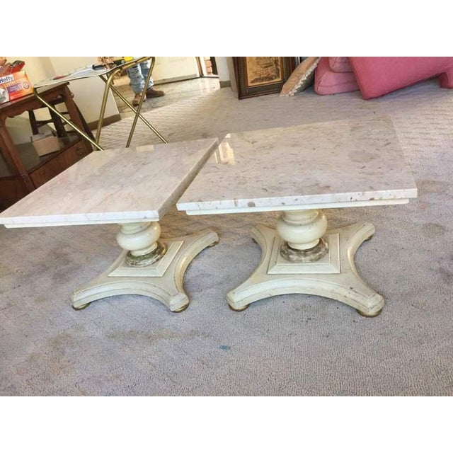 Vintage Buccola Brothers Travertine Top End Tables - A Pair For Sale - Image 5 of 6