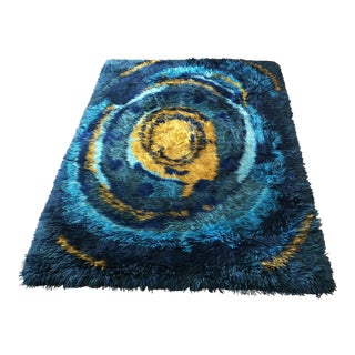 1970s Space Age Modern Abstract Rya Rug-4′2″ × 5′6″ For Sale