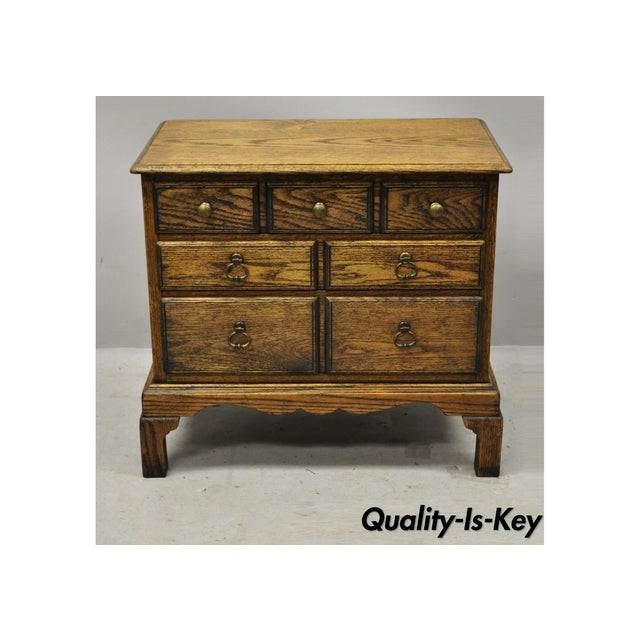 Vintage English Colonial Miniature Oak Wood Small Campaign Chest Side Table For Sale - Image 10 of 10