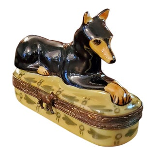 Vintage Limoges Doberman Pinscher Ring Box For Sale