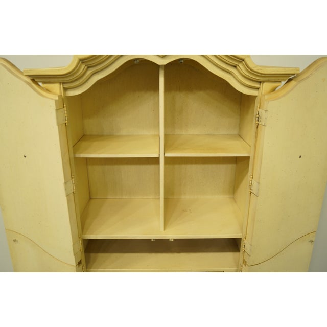 Late 20th Century 20th Century Italian Tuscan Stanley Furniture Painted Cream Clothing Armoire For Sale - Image 5 of 12