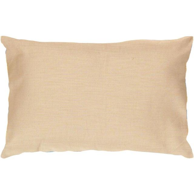 Blue, Yellow & White Silk Velvet Ikat Pillow - Image 2 of 2