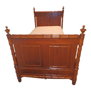 1920s Victorian Pinewood Faux Bamboo Bedframe For Sale