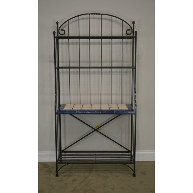 Black Quality Hand Forged Iron Bakers Rack With Tile Shelf For Sale - Image 8 of 9