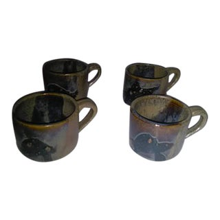 1940s Vintage Stoneware Mugs - Set of 4