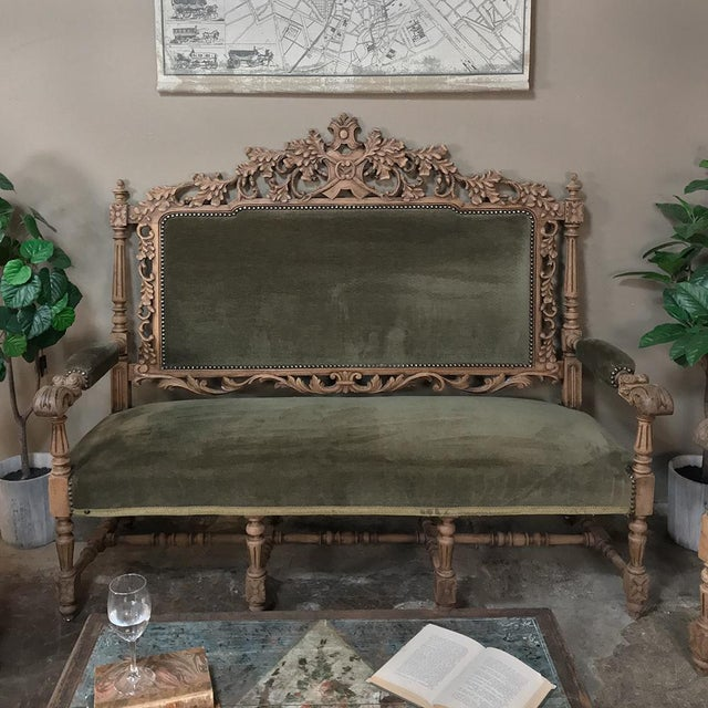 Black Forest 19th Century Black Forest Stripped Oak Hunt Sofa For Sale - Image 3 of 13